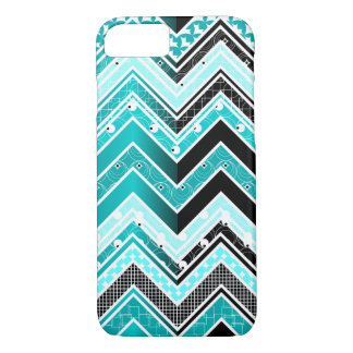 Turquoise, White and black Chevron pattern iPhone 8/7 Case