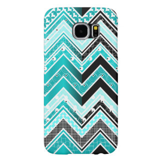 Turquoise, White and black Chevron pattern Samsung Galaxy S6 Cases