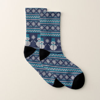 Turquoise White Blue Snowman FairIsle Knitting Socks