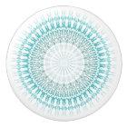 Turquoise White Chevron Mandala Ceramic Knob