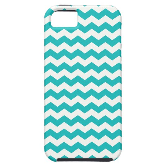 Turquoise white chevrons iPhone 5 case