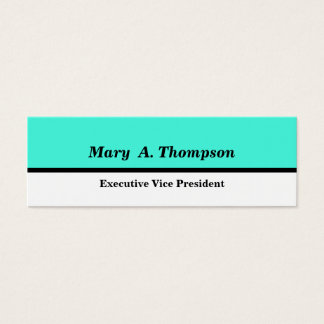Turquoise White Color block Mini Business Card
