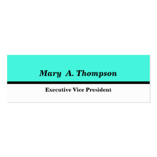 Turquoise White Color block Pack Of Skinny Business Cards
