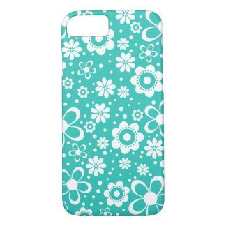 Turquoise White Floral Flower iPhone 8/7 Case