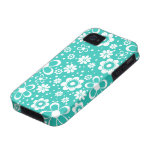 Turquoise White Floral iPhone 4 Case-Mate Vibe
