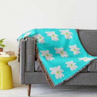 Turquoise White Floral Menagerie 4Lena Throw Blanket