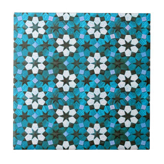 Turquoise & White Flower Pattern Tile