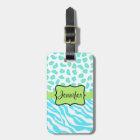 Turquoise, White & Green Zebra & Cheetah Custom Luggage Tag
