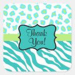 Turquoise White Green Zebra Leopard Skin Thank You Square Sticker