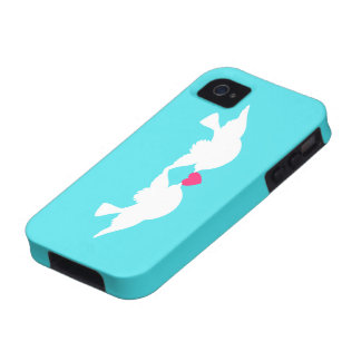 Turquoise White Love Birds Silhouette iPhone 4 Covers
