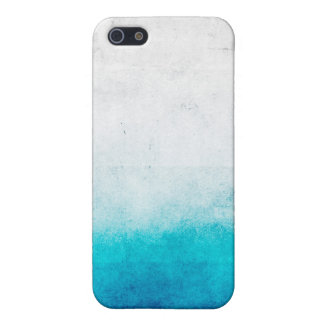 Turquoise & White Ombre Distressed Watercolor Cover For iPhone 5/5S
