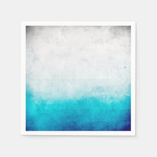 Turquoise & White Ombre Distressed Watercolor Disposable Serviettes