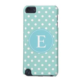 Turquoise White Polka Dot Blue Monogram iPod Touch 5G Case