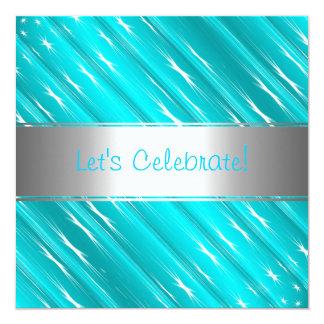 Turquoise White Stars Abstract Party Event Invitat 13 Cm X 13 Cm Square Invitation Card
