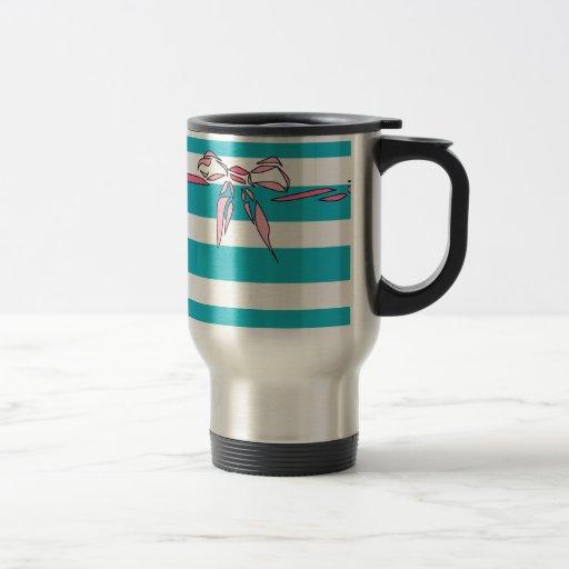 Turquoise White Stripe Pink Bow Coffee Mug Girly Coffee Mug