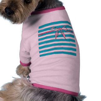 Turquoise White Stripe w Pink Bow Design Doggy Tee Doggie T Shirt