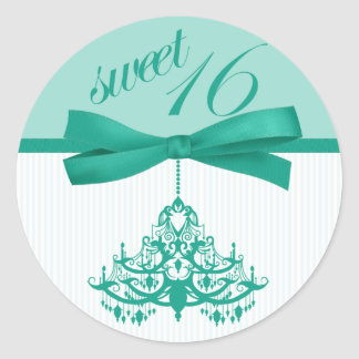 Turquoise White Sweet Sixteen Chandelier Stickers