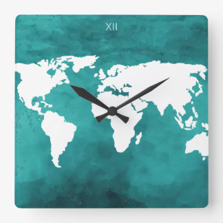 turquoise&white worldmap time square wall clock