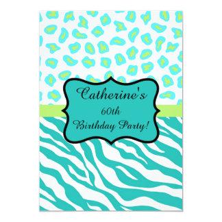 Turquoise White Zebra Leopard 60th Birthday Party 13 Cm X 18 Cm Invitation Card