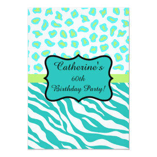 Turquoise White Zebra Leopard 60th Birthday Party Card