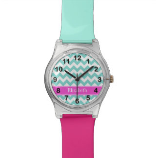 Turquoise Wht Chevron Hot Pink Name Monogram Wristwatch