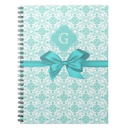 Turquoise Wht Damask #2 Turquoise Label Bow Spiral Notebook