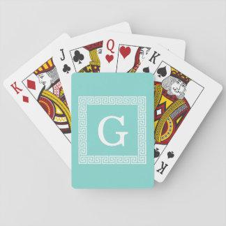 Turquoise Wht Greek Key Frame #1 Initial Monogram Playing Cards