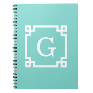 Turquoise Wht Greek Key Frame #2 Initial Monogram Notebooks