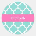 Turquoise Wht Moroccan #5 Hot Pink2 Name Monogram Round Sticker