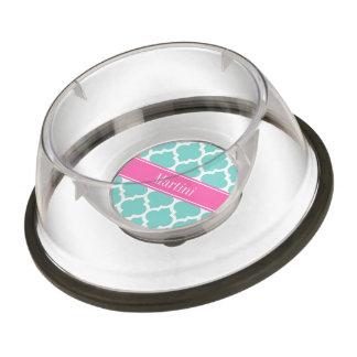 Turquoise Wht Moroccan #5 Hot Pink2 Name Monogram Pet Bowl