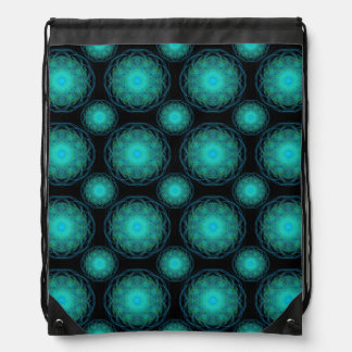 Turquoise Wispy Hippy Mandala Drawstring Bag