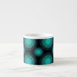 Turquoise Wispy Hippy Mandala Espresso Cup
