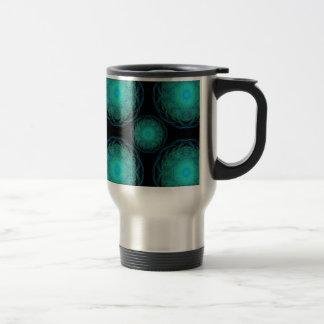 Turquoise Wispy Hippy Mandala Travel Mug