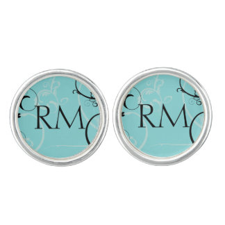 Turquoise with Black Monogram Wedding Cuff Links