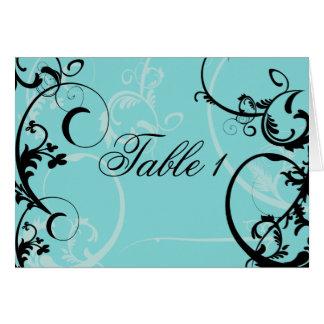 Turquoise with Black Swirl Flourish Embellishment Greeting Card