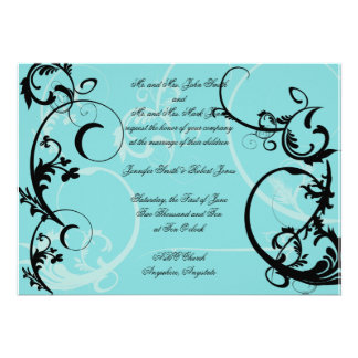 Turquoise with Black Swirl Flourish Embellishment Invitation