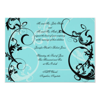 Turquoise with Black Swirl Wedding Invitation