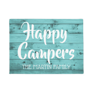 Turquoise Wood Rustic Happy Campers Personalized Doormat