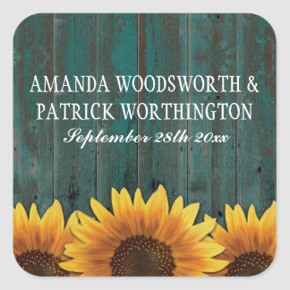 Turquoise Wood Rustic Sunflower Wedding Favors Square Sticker