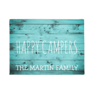 Turquoise Wood Rustic Weathered Name Happy Campers Doormat