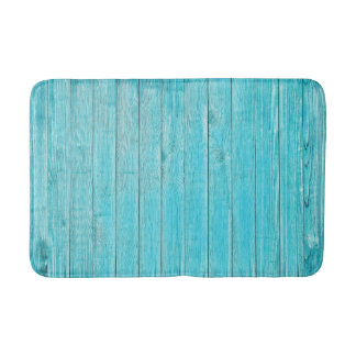 Turquoise Wood Texture Bath Mat