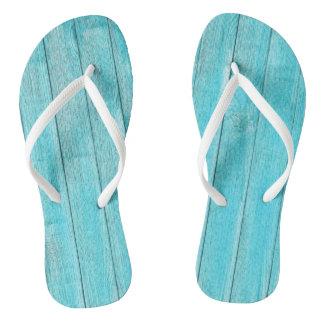 Turquoise Wood Texture Flip Flops