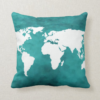 turquoise world map décor throw pillow