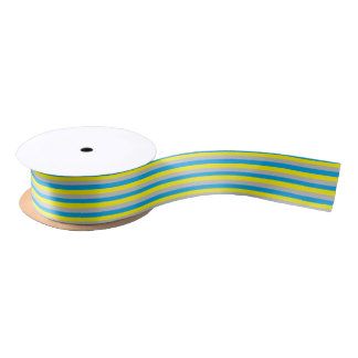 Turquoise, Yellow, and Silver Stripes Satin Ribbon