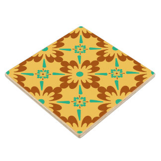Turquoise Yellow Brown Spanish Tile Design Wood Coaster