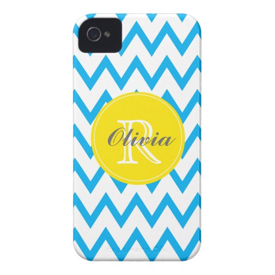 Turquoise, Yellow Chevron Monogrammed iPhone 4/4s Case-Mate iPhone 4 Cases