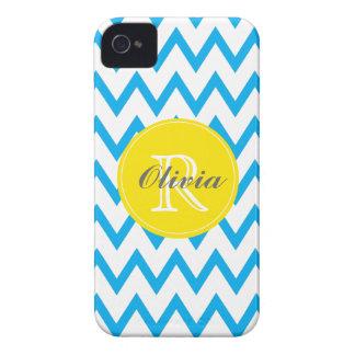 Turquoise, Yellow Chevron Monogrammed iPhone 4/4s iPhone 4 Case