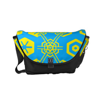 Turquoise Yellow Geometric 4Kirby Messenger Bag