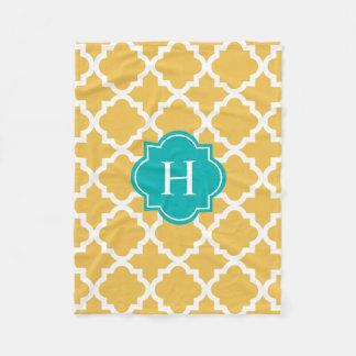 Turquoise & Yellow Monogram   Fleece Blanket