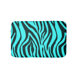 Turquoise zebra animal print pattern bath mat